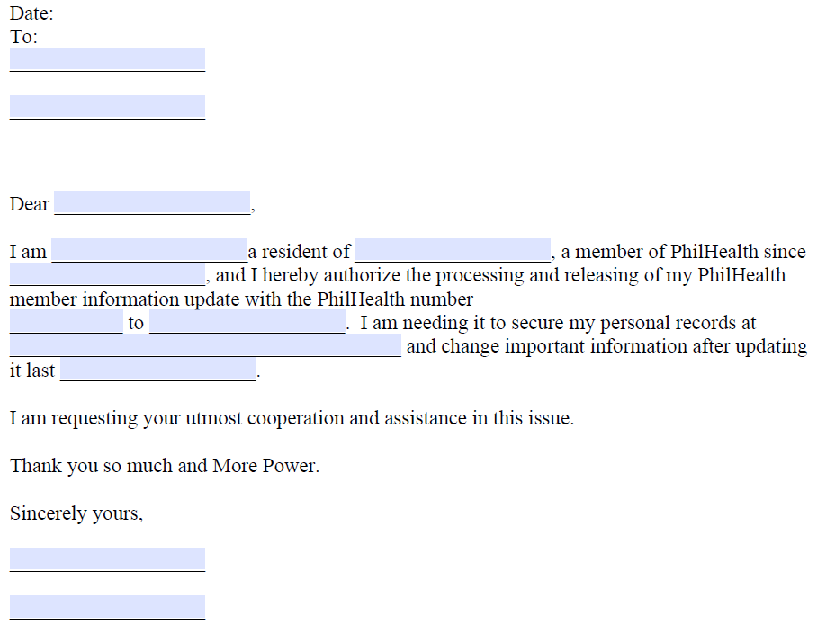 Authorization Letter for PhilHealth Sample