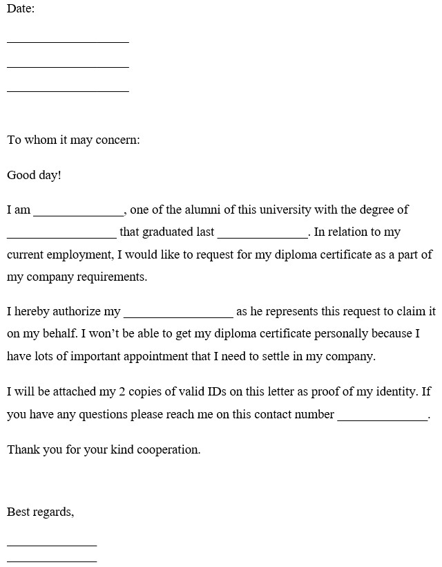 Request Letter For Diploma Certificate