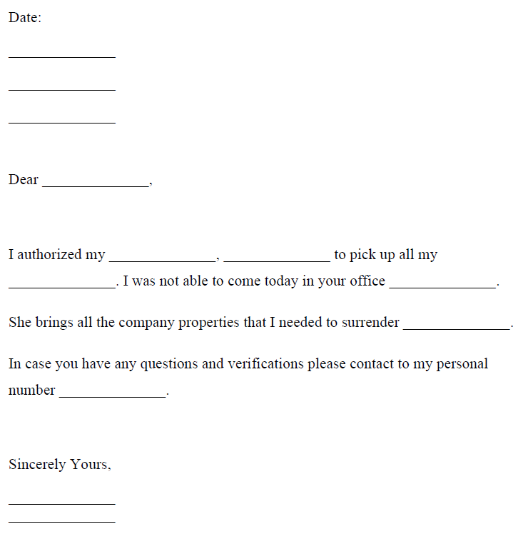 Authorization Letter to Collect Documents Sample